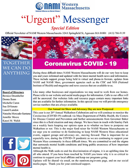Urgent Messenger Cover image only Covid 19 email March 2020 1